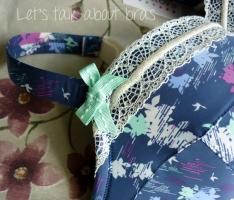 Evollove Splash Print & Lace Balconette, 32G, bow